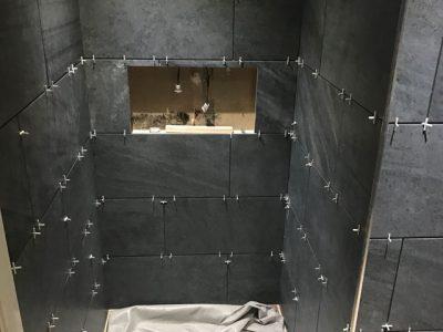 During Bathroom Tiling